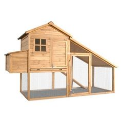Chicken Coop, with Covered Run, Nesting Box and Slanted Roof