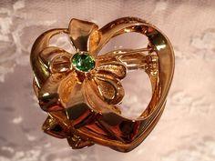 Vintage Avon Peridot Heart Brooch Pin - August Birthstone on Etsy, $5.00