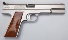 Paul Sokolovsky's Automaster.45 auto pistol was intended to be free of all external screws, pins, and slide stops. A single pin is used to hold the rear sight, and the safety and magazine release are both actuated through the use of sliding flanges mounted on either side of the trigger. Stainless steel and other alloys are used in the frame, slide, and other metal parts, and the grips are walnut. This is the second and final pre-production Prototype II (ca. 1985). Only about 50 were made.