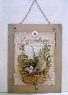 Assemblage ~ The Feathered Nest ~: You can sew most anything to fabric! Bird Crafts, Easter Crafts, Diy And Crafts, Arts And Crafts, Craft Projects, Projects To Try, Vintage Crafts, Spring Crafts, Altered Art