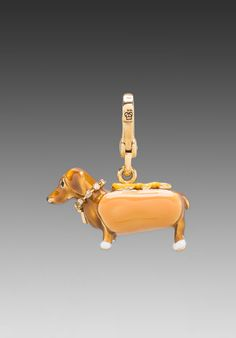 Juicy Couture Dachshund in a Hot Dog Bun charm! Hot Dog Buns, Hot Dogs, Crusoe The Celebrity Dachshund, Dog Jewelry, Jewlery, Dachshund Dog, Dachshunds, Dog Branding, Weenie Dogs