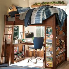 "Loft bed that doesn't look ""young"". Although it would have to be in a tall room and be full size I would think"
