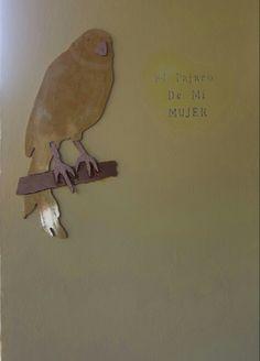 #Pájaro Canario en porcelanico.