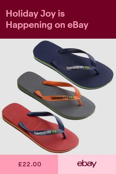 56784121baa17d Havaianas Mens Brasil Logo Flip Flops Grey Navy Red Various Sizes
