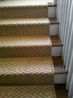 edged sisal stair runner with square nailhead detail . Dash And Albert Runner, Entry Stairs, Basement Stairs, Front Stairs, Attic Stairs, Balustrades, Up House, House Front, Stairs