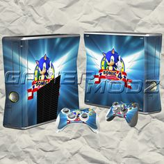 Sonic XBOX 360 Skin Set - Console with 2 Controllers