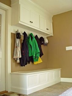 #Entry / Mud Room #Bench. Maybe I could cut away the middle section of the wardrobe #closet we have in the hall, i.e. keep the top and make a bench below. Substitute the current rod and doors for knobs or hooks.