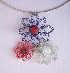 Crochet Flower Necklace Free Pattern | Looking to combine your love of crochet with jewelry?? Heres an easy ...
