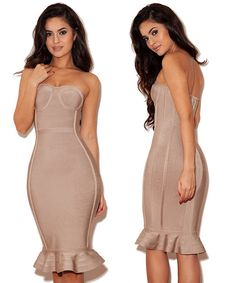 Bqueen Nude Strapless Fishtail Bandage Dress HL109 by Bqueen