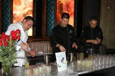 "The Liquid Team creating the ""Blue Rain"" cocktail - Symrise party Las Vegas 2012"