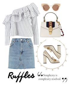 """Ruffles"" by camilleshanel ❤ liked on Polyvore featuring Boohoo, Gucci, Topshop and Bottega Veneta"