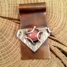 Large copper pendant with prong setting and by WaxHouseDesigns
