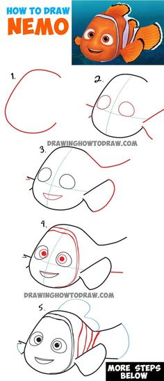 How to Draw Nemo from Disney's Finding Dory : Step by Step Drawing Tutorial Learn How to Draw Nemo from Disney's Finding Dory : Easy Steps Drawing Lesson - Populaire Disney Dessin How To Draw Nemo, How To Draw Steps, Learn To Draw, Doodle Learn, Drawing Lessons, Drawing Techniques, Drawing Tutorials, Art Lessons, Drawing Ideas