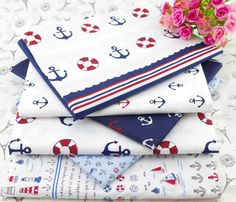 Anchor printed cotton fabric patchwork sewing home textile 40cm*50cm 6 assorted designs Blue white in Width and length:40x50cm approx,hand cut,pls allow error size Material:100% cotton,brand new Color:white aus Stoff auf AliExpress.com | Alibaba Group