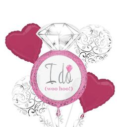 The bride-to-be will love a Bright Pink Bridal Shower Balloon Bouquet! Bright Pink Bridal Shower Balloon Bouquet features diamond ring, print, and heart balloons. Bridal Lingerie Shower, Bridal Shower Balloons, Bridal Shower Party, Bridal Showers, Bride To Be Balloons, Wedding Balloons, Party City Balloons, City Party, 5 Balloons