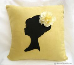 NEW Handmade. Romantic Lady Yellow And Black Pillow Cover. Girls Room Decor