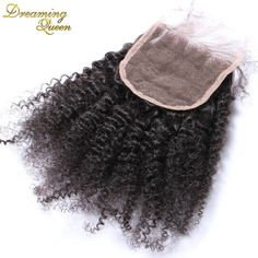 4x4'' Mongolian Kinky Curly Closure 7A  Human Hair Closure 8-20 Middle Free 3 Part Afro Kinky Curly Lace Closure Bleached Knots