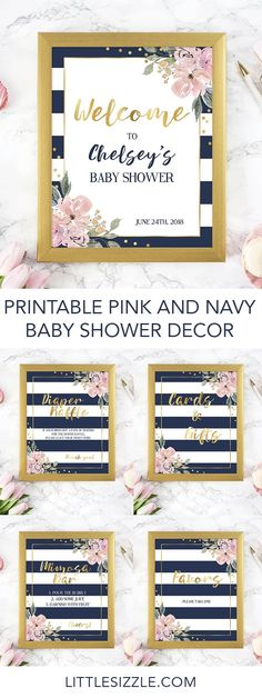 Printable pink gold and navy baby shower decor package by LittleSizzle. Decorating your shower is almost as fun as the party itself! With these pink floral and navy stripes DIY signs, you will add a really great touch to any shower. This chic baby shower decor package with pink flowers and navy and white stripes includes the following shower signs: Welcome sign, Mimosa Bar sign, Favors sign, Cards and Gifts sign. #babyshowerdecor #babyshowerideas #babyshowerthemes #DIY #printable #floral