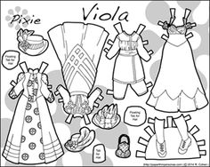 Viola's wardrobe, a printable paper doll from the 1890s in black and white