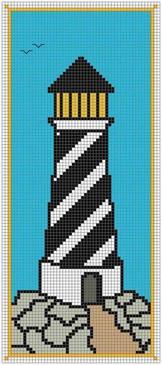 Lighthouse bookmark cross stitch pattern by AnsleyCollinsDesigns on Etsy Loom Beading, Beading Patterns, Embroidery Patterns, Bracelet Patterns, Minecraft Pixel Art, Minecraft Skins, Minecraft Buildings, Graph Paper Art, Pixel Pattern