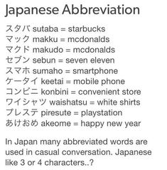 Abbreviations of western things. -- Japan, Japanese words, vocabulary, learning different languages, infographic, communication, everyday