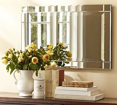 Emberlyn Mirror #potterybarn:  $149 Perfect for Bathroom mirror, you will have 5 inches of clearance on the left and right side of the mirror and the height will be perfect.