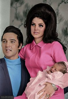 historicaltimes:  Colorized by me: Elvis Presley, Priscilla Presley and Lisa Marie via reddit  amazing colorization! great job!