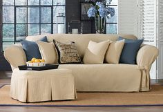 Sure Fit Slipcovers Ticking Stripe One Piece Slipcovers - Loveseat