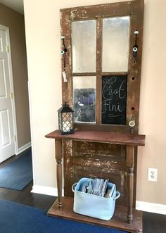 """repurposed door hall tree, crafts, doors, foyer, how to, repurposing upcycling - can put mirrors or pics in """"windows"""""""