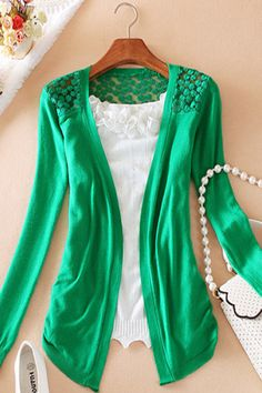 Lovely Hollow-cut Long Sleeves Green Kintting Cardigan