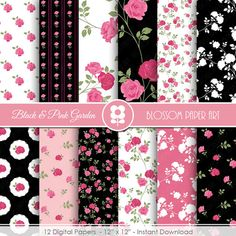 Black and Pink Digital Paper, Rose Digital Paper Pack INSTANT DOWNLOAD  Use for Scrapbooking, Cardmaking, Handmade Stationery, Invitations, Place