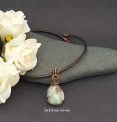 Prehnite and Copper Handmade Pendant on a Leather Cord with Handmade Clasp by JakdawGems on Etsy