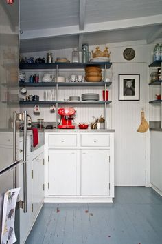 Idea for pantry: remover upper shelves and replace with these.  Will be much less weighty