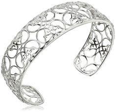 Rhodium-Plated Sterling Silver Filigree Cuff Bracelet, 7.25' ** Visit the image link more details.