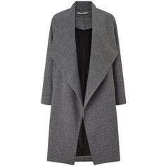Miss Selfridge Grey Waterfall Duster Jacket (4.460 RUB) ❤ liked on Polyvore featuring outerwear, jackets, coats, coats & jackets, tops, grey, long grey jacket, gray jacket, long jacket and miss selfridge