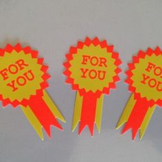 "3 autocollants stickers ""for you"" medaillon de cadeau"