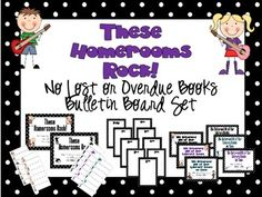 These Homerooms Rock No Lost or Overdue Library Books Bulletin Board set School Library Decor, Library Decorations, Book Bulletin Board, Library Books, Library Ideas, Rock Star Theme, Stars Classroom, Rock Sign, Elementary Library