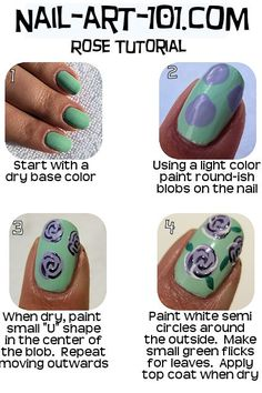 Rose Floral Nail Art Tutorial...went to this site & it has so many idea's I'll be in it forever!