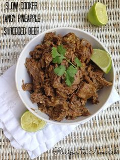 Sweet and savory, this slow cooker tangy pineapple shredded beef is so easy to make. Real food goodness - no processed ingredients and no refined sugars! Healthy Crockpot Recipes, Paleo Recipes, Slow Cooker Recipes, Real Food Recipes, Cooking Recipes, Paleo Meals, Health Recipes, Slow Cooking, Healthy Dinners