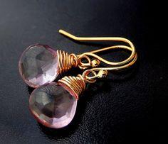 Pink Mystic Quartz Earrings, Gold Drop Earrings, Wire Wrapped Pink Gemstone Teardrops by CellaLayneJewelry on Etsy