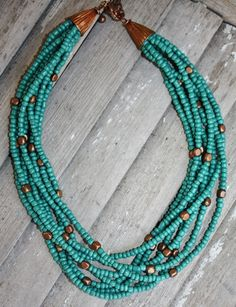 Multiple Strands of Teal with a Hint of Copper Bead Necklace
