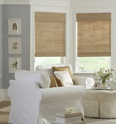 What I want for the living room! Natural woven shades create a relaxed and tranquil living space. Textured, casual, organic, and hand-woven just for you. Woven Wood Shades, Bamboo Shades, Fabric Shades, Living Room Decor, Living Spaces, Living Room Blinds And Curtains, Bedroom Curtains, Living Area, Shades Blinds