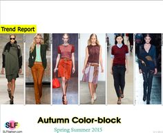 Trendy Colors for SS 2015: Autumn Color-block. Nicholas K, Emilio Pucci, Gucci, Derek Lam, Jil Sander, and Prabal Gurung Spring Summer 2015.