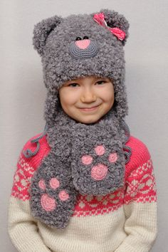 dark Grey Girls' Clothing Childrens Knitted Hat Animal Cartoon Fox Baby Fall And Winter Style Hats Kids Warm Winter Cap