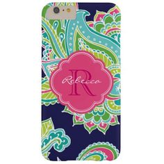 Colorful Bohemian Paisley Custom Monogram Barely There iPhone 6 Plus Case