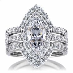 Padgett's Marquise Cut CZ Wedding Ring Set - Double Ring Guards