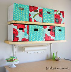 .   I have a lot of stuff. Well, craft room stuff. . And it keeps growing and growing. So the time came to organize. And of course have a little fun with it. So…….I made these storage boxes completely out of old cardboard boxes covered with a little fabric on the front. . **And …