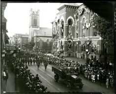 WW 1 parade on 3rd St, Troy, NY Old City Hall is on the right front and St Paul's Church in in the right rear.