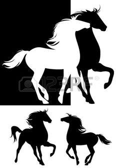 paire de conception des chevaux de silhouette - beaux animaux ensemble noir et blanc