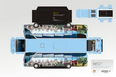 Yet another bus papercraft! This one apparently tours California. Paper Car, 3d Puzzles, Jumping Jacks, Paper Models, Model Trains, Paper Cutting, Stencil, Vehicle, Hobbies